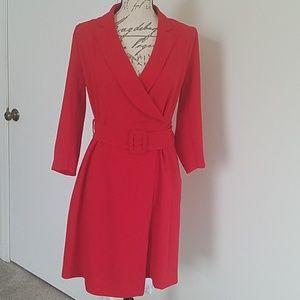 EVA MENDESS RED WRAP DRESS SIZE S
